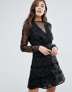 Короткое приталенное платье со звездами Little White Lies - Черный