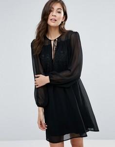 Платье с пышными рукавами Little White Lies Anita - Черный