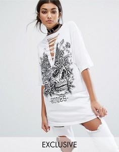 Oversize-футболка с черепом и горловиной на шнуровке Bones - Белый