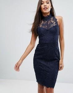 Кружевное облегающее платье Lipsy - Темно-синий