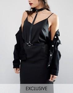 Кожаное ожерелье-чокер Retro Luxe London - Черный