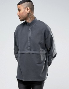 Длинный oversize-свитшот с ткаными рукавами ASOS - Серый
