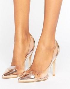 Туфли-лодочки цвета розового золота с прозрачными вставками Public Desire Mercedes - Золотой