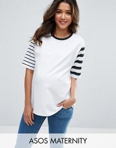 Трикотажная футболка в полоску ASOS Maternity - Белый