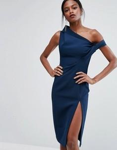 Структурированное платье с открытыми плечами AQ/AQ - Синий