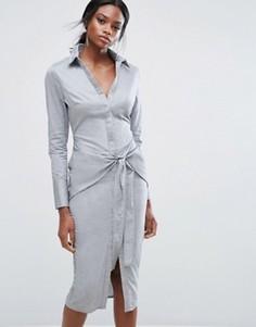 Хлопковое платье-рубашка с поясом на талии Lavish Alice - Серый