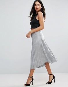 Плиссированная юбка миди цвета металлик Jessica Wright - Серебряный