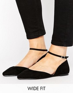 Туфли на плоской подошве для широкой стопы с ремешком вокруг щиколотки Faith - Черный