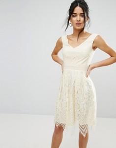 Кружевное платье для выпускного Little Mistress - Кремовый