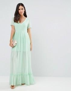 Платье макси с оборкой по низу Traffic People - Зеленый
