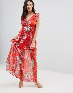 Платье макси с цветочным принтом и v-образными вырезами Traffic People - Красный