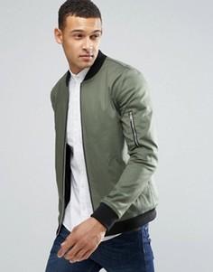 Облегающая куртка‑пилот цвета хаки с карманом MA1 ASOS - Зеленый