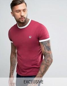Каштановая футболка с окантовкой Fred Perry - Красный