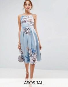 Платье миди с цветочным принтом ASOS TALL - Мульти