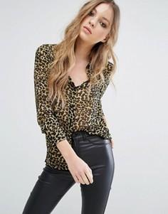 Рубашка с леопардовым принтом Noisy May - Мульти