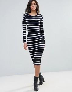 Платье миди в полоску QED London - Темно-синий