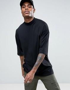 Черная oversize-футболка с высоким воротом и рукавами до локтя ASOS - Черный