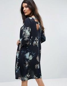 Платье с открытой спиной и цветочным принтом Y.A.S - Черный