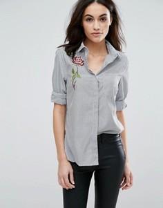 Полосатая рубашка из поплина с вышивкой New Look - Серый
