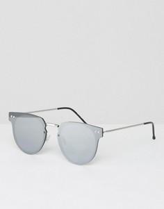 Круглые солнцезащитные очки с серебристыми зеркальными стеклами Spitfire - Серебряный