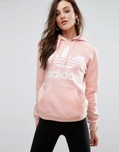 Розовый худи бойфренда с логотипом adidas Originals - Розовый