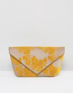 Кожаный клатч с флоковым рисунком ASOS - Мульти