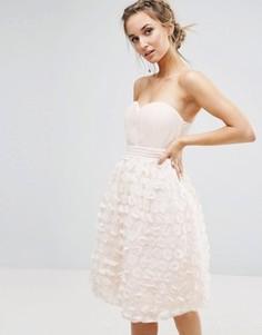 Платье бандо для выпускного с цветочным принтом Little Mistress - Розовый