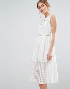 Платье миди с сетчатой отделкой The English Factory - Белый