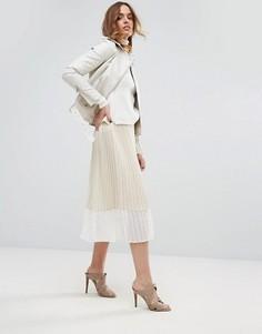 Плиссированная юбка миди Sisley - Бежевый
