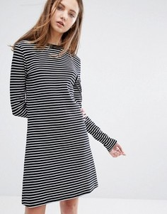 Платье в полоску с контрастной отделкой Weekday - Черный
