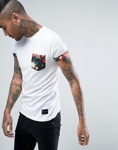 Белая футболка с цветочным принтом на кармане Criminal Damage - Белый