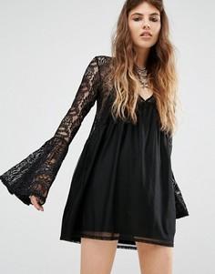Свободное платье с кружевными вставками Rokoko - Черный