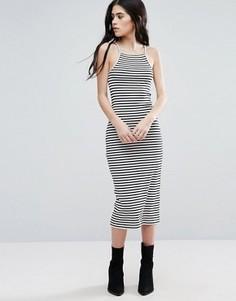 Платье миди в полоску Brave Soul - Белый