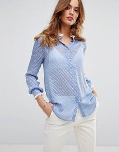 Блузка в горошек с бахромой Sisley - Синий
