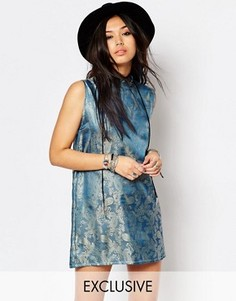 Легкое парчовое цельнокройное платье с высокой горловиной Milk It - Синий