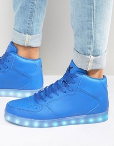 Высокие кроссовки с подсветкой LED Wize & Ope - Синий