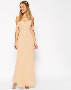 Скроенное по косой платье макси с оборками на рукавах ASOS WEDDING - Кремовый