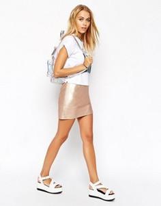 Мини-юбка из искусственной кожи цвета розовый металлик ASOS - Золотой