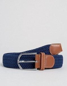 Узкий плетеный ремень 7X - Темно-синий