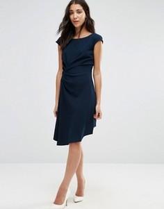 Платье с короткими рукавами и отделкой сбоку Closet - Синий