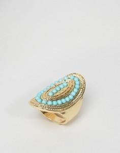 Кольцо с бирюзовой вставкой DesignB - Золотой