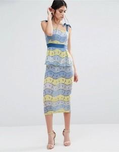 Платье миди из разноцветного кружева Traffic People Fab - Синий