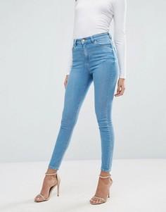 Ярко-голубые джинсы скинни ASOS RIDLEY - Синий