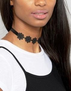 Ожерелье-чокер с цветочной отделкой и завязкой ASOS - Черный