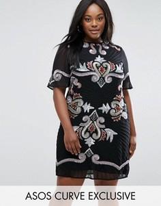 Цельнокройное платье мини с отделкой в виде узора пейсли ASOS CURVE - Мульти