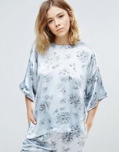 Атласная рубашка с цветочным принтом Ganni Gold St. - Белый