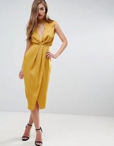 Платье миди с драпированной горловиной ASOS - Золотой