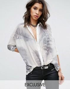 Прозрачная рубашка с принтом Religion - Белый