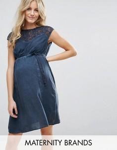 Платье с кружевным топом Mamalicious Maternity - Темно-синий Mama.Licious