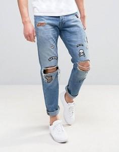 Светло-синие прямые джинсы с нашивками Jack & Jones Intelligence - Синий